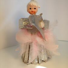 Vintage Holt Howard Tree Topper Angel  Pink Feathers 1950s Ceramic