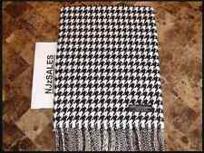 100% CASHMERE WINTER SCARF BLACK WHITE HOUNDSTOOTH Plaid Long Warm Scotland Wool