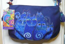 "Laurel Burch ""Indigo Cats"" #LB5552 A Cat Artistic Mini Crossbody Hand Bag NEW"