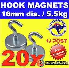 20X Magnetic Hooks Holders 16mm dia. 5.5kg hold pull