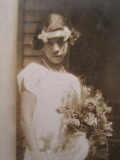 ANTIQUE AFRICAN AMERICAN FLAPPER GIRL WHITE DRESS FLOWERS COUPLE KY or IN PHOTOS