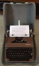 Vintage 1957 Olympia SM3 DeLuxe Portable Brown Typewriter & Case Germany MINT!