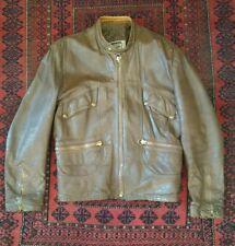 Mens VTG Yamaha 70's Leather Cafe Racer Motorcycle Jacket size 42