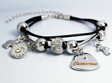 White Gold Charm Name CATHERINE Bracelet Birthday Christmas Easter Gifts For Her