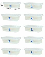 10 x 6L Clear Plastic Small Storage Shoes Craft Supplies Tools Box with Lids