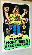 original vintage velvet black light poster More Beer More Hands 1974 Velva-print