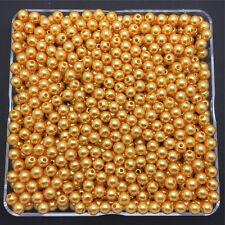 Wholesale 200PCS 4mm Gold Acrylic Round Pearl Spacer Loose Beads Jewelry Making