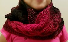 hand-knitted  double loop infinity scarf with Scarfie yarns(cranberry/black)