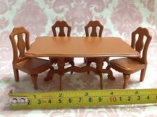 Dollhouse Miniature Generic Furniture Plastic Dining Table Set (Sylvanian Size)