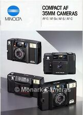Minolta AF E, Sv, S & C Compact Camera Brochure. More Guides & Catalogues Listed