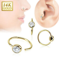 14 Karat 14K Solid Yellow Gold Ball CZ Nose Lip Tragus Snug Hoop Ring Piercing