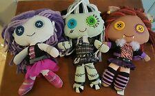 Monster High Frankie Stein Spectra Vondergeist Clawdeen Wolf Plush Yarn Dolls
