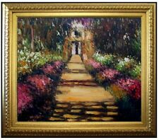 Framed, Claude Monet Garden Path Repro, Hand Painted Oil Painting 20x24in