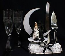 Star War Wedding Cake Topper Darth Vader LOT Glasses Knife and Server set garter