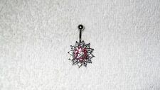 Cute Pink Clear Crystal Flower Belly Navel Ring Body Jewelry Piercing 14g Hot