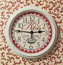 New wall clock kitchen Kiss The Cook quartz white novelty 8.75 inch diameter