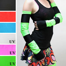 Green Black Striped Arm Warmers Anime Costume Gloves Glow UV Elbow Length 1283