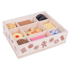 Bigjigs Toys Wooden Biscuit Box & Assorted Wooden Biscuits - Pretend Play Toys