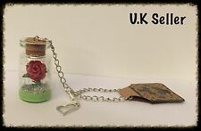 Rose In Glass Bottle. Car Mirror / Window Hanging / Bag Charm. 4cm High Bottle.
