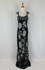 ADRIANNA PAPELL Beaded Black Silk 1930's Style Flapper Gatsby Deco Dress Gown 12