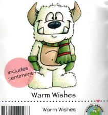 New DOODLE DRAGON RUBBER STAMP cling Christmas Winter Warm wishes
