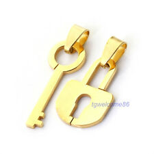 1pair Fashion 18K Gold Plated Lock & Key Stainless Steel Lover Pendant Necklaces