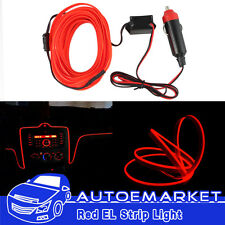 3M Red Neon LED Light Glow EL Wire Strip Rope Tube Car Interior Decor Lamp 12V
