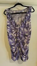 New York & Company - Purple & White Floral Ruffled Sleeveless Top Size L