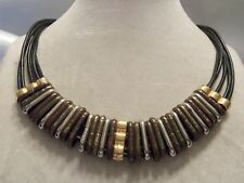 FUNKY COOL Design BLACK Leather w/CHUNKY Moving Metal Findings Necklace 15N526