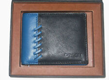 Coach Men's  Black/ Denim Blue Rip & Repair Leather Wallet 75212B NWT $150