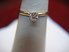 14K YELLOW GOLD 1/3 CT DIAMOND SOLITAIRE ENGAGEMENT RING - EXTRA CLEAN & WHITE
