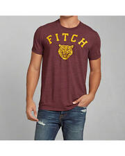 Abercrombie & Fitch T-Shirt Mens Tiger Applique Logo Graphic Tee S Burgundy NWT