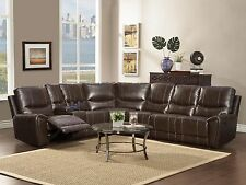 SEINE-Brown Bonded Leather Motion Reclining Sofa Couch Sectional Set Living Room
