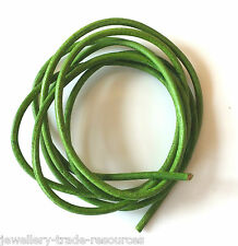 APPLE GREEN 100% NATURAL 1.3mm LEATHER CORD THONG THREAD NECKLACE & JEWELLERY