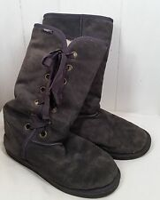 Emu Wool Suede Stephanie gray lace up Boots womens size 7