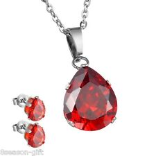 1Set Womens Fashion Sliver Stainless Steel Drops Zircon Earring Necklace
