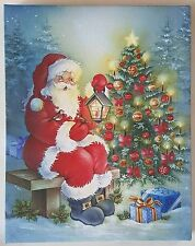 LED Light Up/Flashing Christmas Santa Tree and Lantern Holiday Canvas Picture