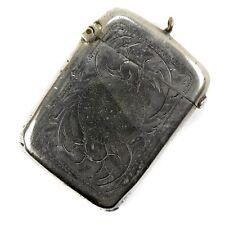Antique Edwardian Vintage Silver Plated Match Holder Vesta Case