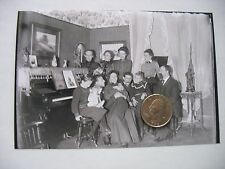 """Victorian 5"""" x 7"""" Glass Plate Negative Baby shower ? Family w  Pregnant woman"""