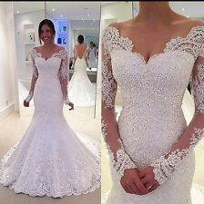 UK Sexy White/Ivory Long Sleeve Lace Wedding Dress Bridal Gown Sizes 6-22