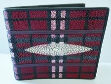 Stingray Leather Bifold Wallet, Red/Pink Plaid Design Stingray Leather Wallet