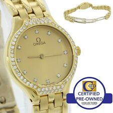 Ladies Vintage Omega DeVille Solid 18k Yellow Gold Diamond Quartz 24mm Watch 60g