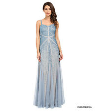 NWT ADRIANNA PAPELL Size 8 Blue Fully Beaded Godet Gown Dress $349