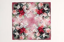 Small Square Silk Scarf Pink Butterfly and Floral Print XFD006