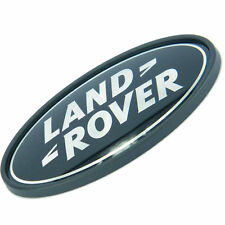 LAND ROVER LOGO REAR BODY OVAL BADGE - BLACK ON SILVER - NEW OEM PART# DAH500330