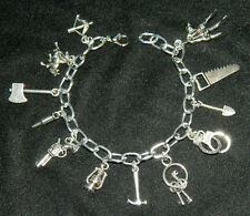 13 pc Adjustable Silver Charm Bracelet Inspired by Walking Dead Zombie Theme