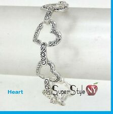 Magnetic Stylish Fashion Love Hope Celtic Cut-Out Heart Link Chain Bracelet NEW