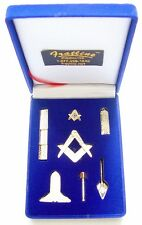 Masonic Mini Working Tool Gift Set with Lapel Pin (Bright Gold Finish)