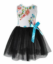 New Girls White and Black Flower Party Dress 6-7 Years