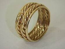 14K YELLOW GOLD POLISHED TWISTED ROPE DOUBLE BAND RING NEW SIZE 9
